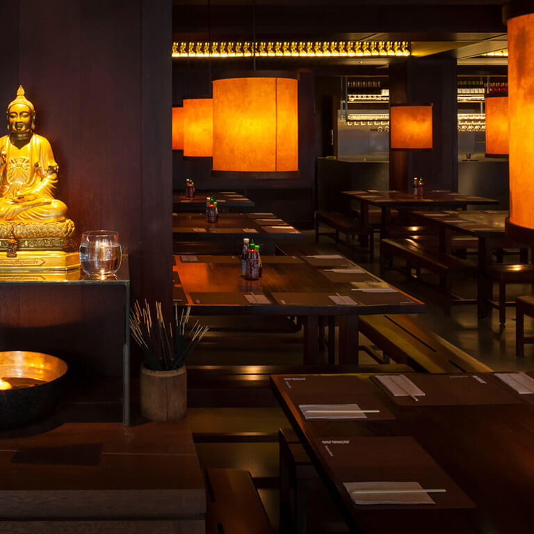 busaba hoxton square dining area and golden buddha