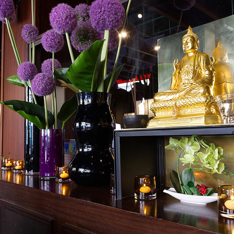busaba oxford circus golden buddha and flowers