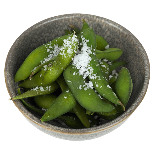 Edamame and salt in a grey bowl