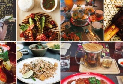 mixed thai food in a collage